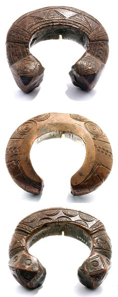 Africa | 3 currency copper anklets from the Djerma people of Niger | 18th century