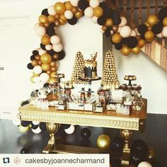 Our gorgeous gold table featured here at Ronny's 21st... Repost @cakesbyjoannecharmand with @repostapp. ・・・ Tonight's buffet !!! Ronny's 21st !!! Event styling, cakes, deserts and props @cakesbyjoannecharmand  Table @partyatmosphere  Balloon arch @floating.designs  Cake and cupcake toppers @littleeventboutique  #blacklabel #foodporn #yummy #blackandgold #cakedecorator #eventstyling #partystylist #21