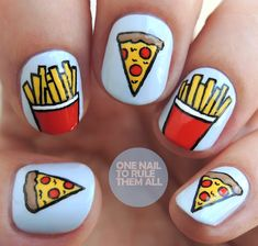 Fast Food Launch your own makeup line. Cute Nail Art, Nail Art Diy, Diy Nails, Cute Nails, Pretty Nails, Summer Acrylic Nails, Best Acrylic Nails, Acrylic Nail Designs, Food Nail Art