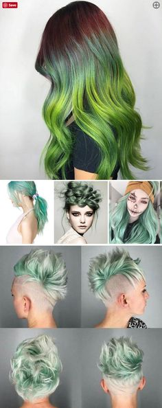 Green hair colors and style on different hair lengths - short, medium, long in ponytails and braids