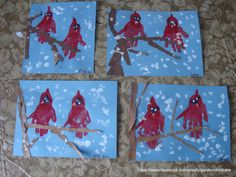 our handprint and torn paper cardinals