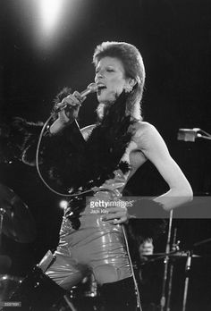 David Bowie (1947 - 2016) performing at a live recording of 'The 1980 Floor Show' for the NBC 'Midnight Special' TV show, at The Marquee Club in London, with a specially invited audience of Bowie fanclub members, 20th October 1973. Bowie is wearing his 'Angel of Death' costume.
