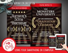 Movie Award Nomination Invitation Font Editable Template Instant Download Digital Files by clipartsuperstore on Etsy Bride Shower, Baby Shower, Hollywood Invitations, Invitation Fonts, Backyard Birthday, Party Items, Youre Invited, Etsy App, Best Part Of Me