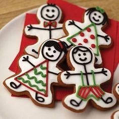Cookies & Bars Clever stick figure gingerbread boy and girl cookie designs make your Christmas baking more fun! Gingerbread Man Cookies, Christmas Sugar Cookies, Holiday Cookies, Christmas Desserts, Christmas Baking, Italian Christmas, Valentine Cookies, Gingerbread Houses, Fancy Cookies