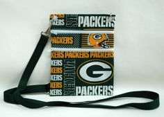 Greenbay Packers Handmade Womens Fabric Wallet, Crossbody Bag, Passport, wallet sling or Purse made from NFL Greenbay Packer Fabric by TwistedThreadsQuilts on Etsy