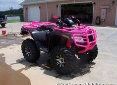 :)My new 4 wheeler .I am saving up for this baby.You can find 4 wheelers and. Big Girl Toys, Toys For Girls, Pink Four Wheeler, My Dream Car, Dream Cars, Four Wheelers, Dirtbikes, Big Trucks, Lifted Trucks