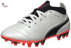 Puma Evopower 3 2 FG, Chaussures de Football Entrainement Garçon, Blanc (White/Total Eclipse/Lava Blast), 34 EU