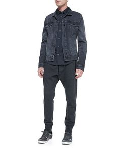 Washed Classic Denim Jacket, Tech Two-Pocket Shirt & Drawstring French Terry Pants  by Vince at Neiman Marcus.