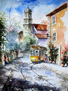 by Almeida Coval lisbon passion. by Almeida Coval Watercolor Landscape, Watercolour Painting, Landscape Paintings, Watercolours, Pinturas Em Tom Pastel, Cute Drawings Of Love, Watercolor Architecture, Street Painting, Urban Sketchers