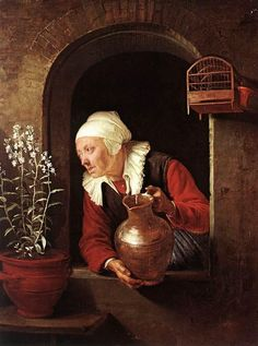 Old Woman Watering Flowers by Gerard Dou