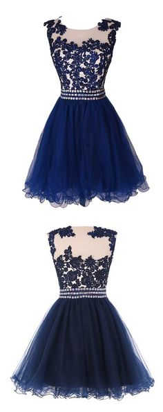 Navy Blue Lace Short Prom Dress Homecoming Dresses With Waist Beadings,Royal Blue Custom Made Mini Length Wedding Party Dress Gown