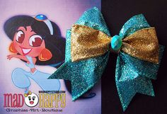 4+inch+double+bow.+All+bows+come+attached+with+double+prong+alligator+clips.+if+you+have+another+clips+preference,+please+let+me+know.  Perfect+for+any+Aladdin/+Jasmine+fan.+  NEW+re-designed+style!