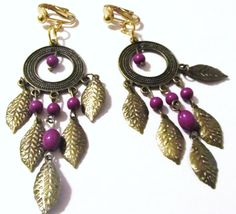 3 1/2 Gold Plated Round Hollow Purple Beaded Feather by ADKOR, $5.99