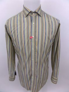 THOMAS DEAN Men's Long Sleeve Flip Cuff Striped Button Up Shirt Size Large #ThomasDean #ButtonFront