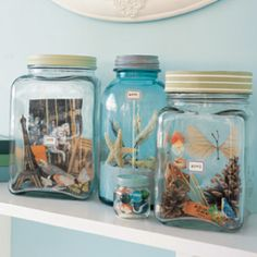 Love this... Collect little memories from trips ans then put together a small memory collage in a jar.