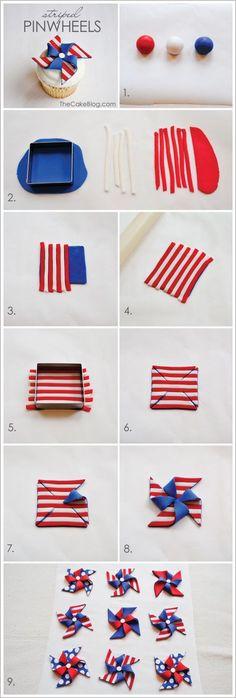 striped fondant pinwheel cupcakes..