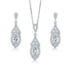 Marquise Cut Clear Cubic Zirconia CZ 925 Sterling Silver Halo Pendant Necklace And Dangle Earrings Matching 2 Pc Set #vs180