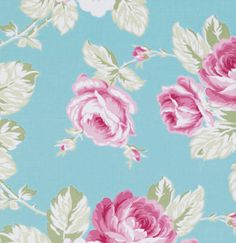 Sunshine Rose by Tanya Whelan Fabric / FULL BLOOM ROSE in Blue - 1 Yard Cotton Quilt Fashion Fabric by mimis on Etsy