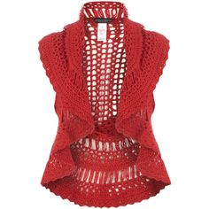 Red hand crochet waistcoat ($62) ❤ liked on Polyvore featuring outerwear, vests, tops, jackets, exclusives, women's trousers, red vest, red waistcoat, vest waistcoat and pattern vest