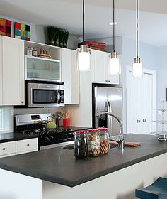 Concrete Countertops #kitchen #white kitchen #concrete countertops