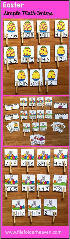 "These Simple Math Centers for Easter include 4 Easter themed sets of ""Count and Clip"" Task Cards, and 4 ""Clip and Flip"" Books that focus the concepts of ""one more,"" and ""one less.""  Clip and Flip Task Card Sets Included:  Count the Bunny's Eggs (Numbers 0-10) Count the Eggs in the Basket (Numbers 0-10) Count the Dots on the Easter Egg (Numbers 0-10) Count the Flowers in the Bonnet (Numbers 0-10)"