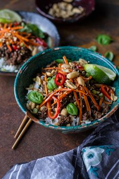 20 Minute Thai Basil Beef and Lemongrass Rice Bowls