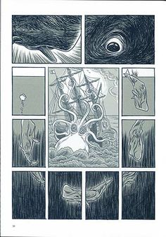 BD Leviathan (Jens Harder) #whale #octopus #ship #ocean #comic