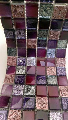 Purple Lavender and Gray Assorted Glass Stone Blend Bath Tiles, Bathroom Tile Designs, Bathroom Ideas, Purple Bathrooms, Dream Bath, Grey Tiles, Hearth And Home, Style Tile, Moroccan Style