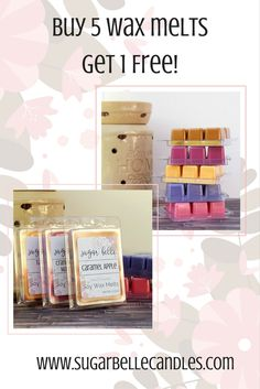 Buy 5 scented wax melts and get 1 free! Discounts are automatically applied at check out. Stock up on your favorite fall wax tarts! #waxmelts #scentedwaxmelts #tartmelts #candlemelts #soywaxmelts