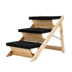 details about pet wood stairs large folding ladder dog cat ramp
