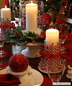 candy canes for Christmas table decorations