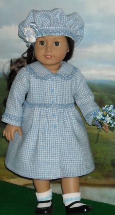 """Easter Coat & Hat for 18"""" Dolls like Kit and Ruthie. via Etsy. The wool material used in this set is so much prettier than the pictures show. And so soft! The bodice is lined. BY SugarloafDollClothes."""