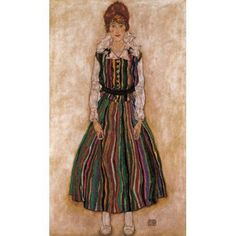 Edith Schieler in Striped Dress 1915 Canvas Art - Egon Schiele (18 x 24)