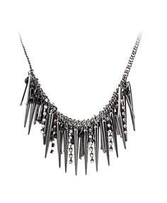 Punk Spike and Diamante Pendant Necklace
