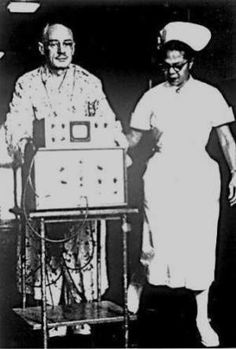 1956 Dr. Paul Zoll allowed this patient to ambulate attached to his pacemaker machine.