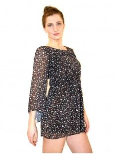(black) mary longsleeved short dress floral patterns perfect for summer  £9.99