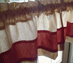 Shabby Chic Countryside Linen and Gingham Kitchen Curtains. $25.00, via Etsy.