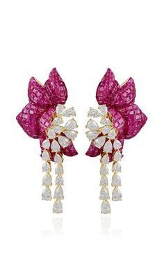 Ruby floral earring by FARAH KHAN FINE JEWELRY Preorder Now on Moda Operandi