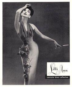 Dorian Leigh in Lilli Ann ad, 1954