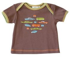 Cloud Mine: Retro Cars Brown Tee, matching shorts available