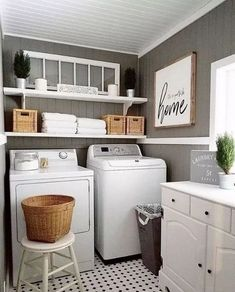 Small Laundry Room Decoration Ideas For You; Home Decor;Smart Laundry Room Arrangement Ideas To Save Your Space Small Laundry Rooms, Laundry Room Storage, Laundry Room Design, Laundry Decor, Laundry Closet, Basement Laundry, Garage Laundry, Cabinets For Laundry Room, Laundry Bathroom Combo
