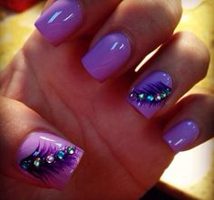 Purple, feather nails.