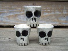 Skully Shot Glasses - Extra Large from MuddPuppyPottery on Etsy. Saved to Them bones. them bones. Pottery Mugs, Ceramic Pottery, Artistic Installation, Fantasy Castle, Arte Horror, Ceramics Projects, Deco Table, Skull And Bones, Halloween Party Decor