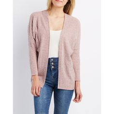 Charlotte Russe Ribbed Crochet-Trim Dolman Cardigan ($15) ❤ liked on Polyvore featuring tops, cardigans, pale mauve, pink knit cardigan, pink top, charlotte russe, knit cardigan and charlotte russe cardigans