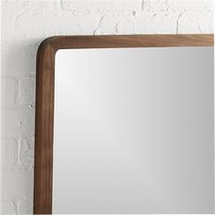 """Shop walnut 30"""" square wall mirror.   Looking glass squares up in a solid walnut frame with modern rounded corners."""