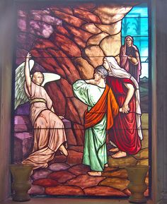 Stained glass mausoleum window: Spring Grove Cemetery, Cincinnati, Ohio (Matthew 28:6: He is not here: for he is risen, as he said. Come, see the place where the Lord lay.)