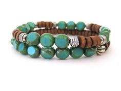 Gorgeous Bohemian beaded stretch bracelet set by Rock & Hardware Jewelry.