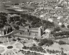 Aerial photo of St.Mary's Cathedral and surrounds in Sydney in Historical Images, Historical Society, Great Photos, Old Photos, Royal Society Of Arts, Sydney City, Sydney Australia, Aerial Photography, Countries Of The World