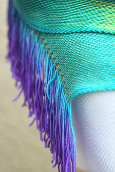 """<p>Hand woven long scarf in #rainbow colorway. There are a lot of different shades of green, blue, red and purple.</p> <p>Measures: <br>L: 78"""" with 6"""" fringe on both ends W:... #kgthreads #gay"""