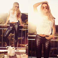 Printed sequins tight pants